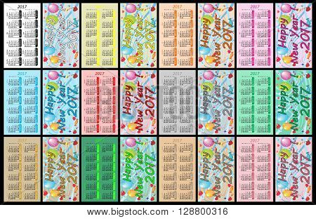 Pocket calendar 2017 on black background - Illustration,
