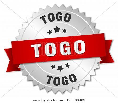 Togo round silver badge with red ribbon