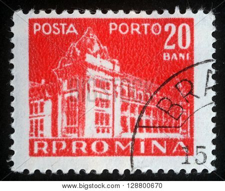 ZAGREB, CROATIA - JULY 18: A stamp printed in Romania shows a General Post Office of Romania, circa 1970, on July 18, 2012, Zagreb, Croatia