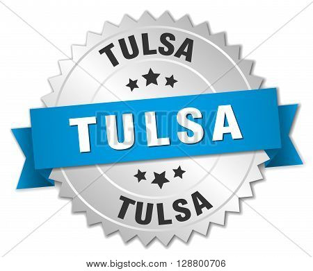 Tulsa round silver badge with blue ribbon