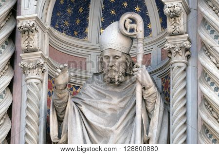 FLORENCE, ITALY - JUNE 05: Saint Zenobius of Florence, Portal of Cattedrale di Santa Maria del Fiore (Cathedral of Saint Mary of the Flower), Florence, Italy on June 05, 2015
