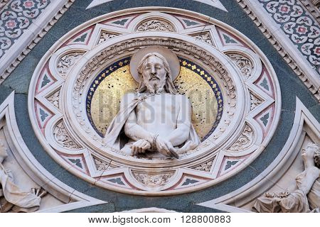 FLORENCE, ITALY - JUNE 05: Christ Bound, Portal of Cattedrale di Santa Maria del Fiore (Cathedral of Saint Mary of the Flower), Florence, Italy on June 05, 2015
