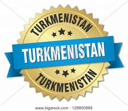 Turkmenistan round golden badge with blue ribbon