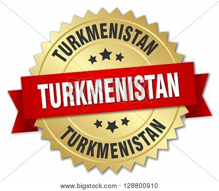Turkmenistan round golden badge with red ribbon