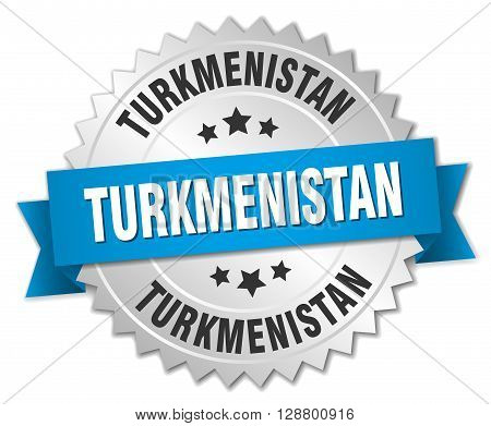 Turkmenistan round silver badge with blue ribbon