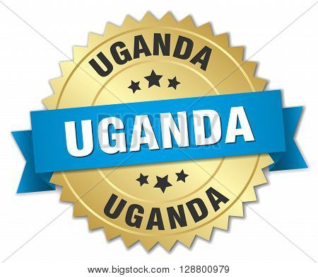 Uganda round golden badge with blue ribbon