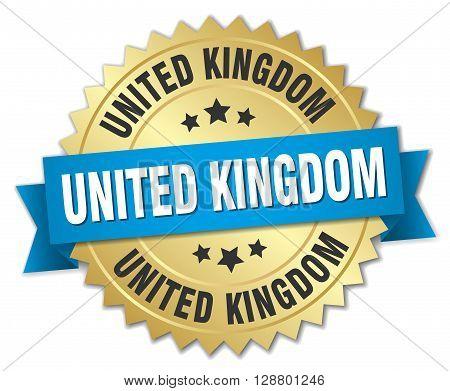 United Kingdom round golden badge with blue ribbon