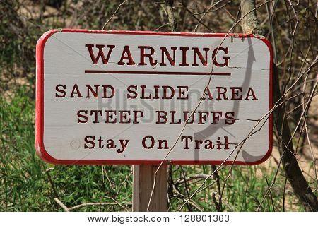 A warning sign on pierce stocking scenic drive, Sleeping Bear Dunes National Lakeshore, Michigan.