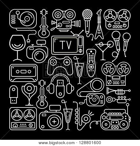Art line on a black background Entertainment and Home electronics vector icon set.