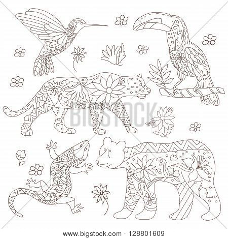 A set of isolated vector images of Mexican animals. The black bear jaguar toucan lizards hummingbirds in doodle style. Traditional Mexican animals and flowers. Vector illustration.