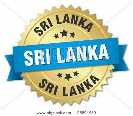 Sri Lanka round golden badge with blue ribbon