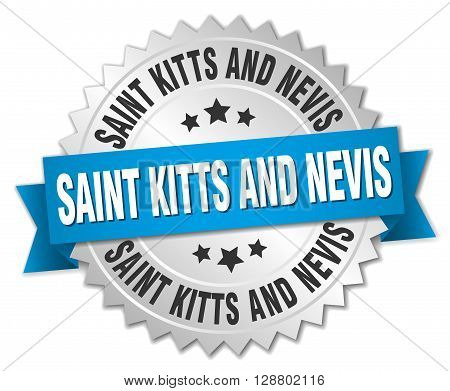 Saint Kitts And Nevis round silver badge with blue ribbon