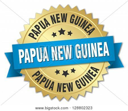 Papua New Guinea round golden badge with blue ribbon