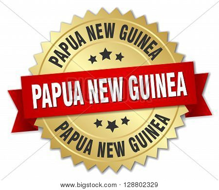 Papua New Guinea round golden badge with red ribbon