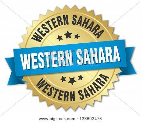 Western Sahara round golden badge with blue ribbon