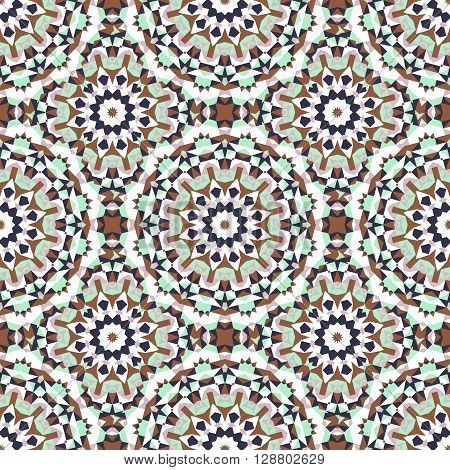 Vector ethnic colorful bohemian pattern in mint colors with big abstract flowers. Geometric background with Arabic, Indian, Moroccan, Aztec motifs. Bold print with stars, mandalas, triangle, polygon
