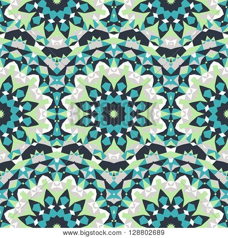 Vector ethnic colorful bohemian pattern in green colors with abstract flowers. Geometric background with Scandinavian, Nordic, Russian, Slavic motif. Bold print with stars, mandalas, triangle, polygon