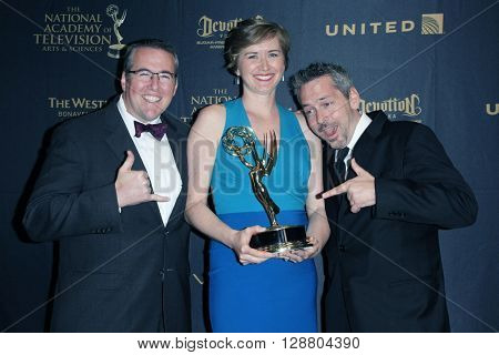 LOS ANGELES - APR 29: Jeff Warren, Sara McKellogg Lane, Ryan Moore at The 43rd Daytime Creative Arts Emmy Awards Gala at the Westin Bonaventure Hotel on April 29, 2016 in Los Angeles, California