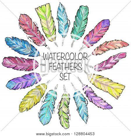 Set of hand drawn sketch watercolor feathers. Set of bright colorful feathers for any print or tattoo. Boho feathers hipster aztec style.
