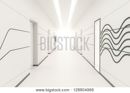 Modern bright corridor interior with pattern on wall multiple doors and light at the end. 3D Rendering