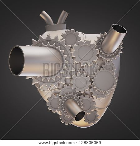 Iron heart with gears on dark background. 3D Rendering