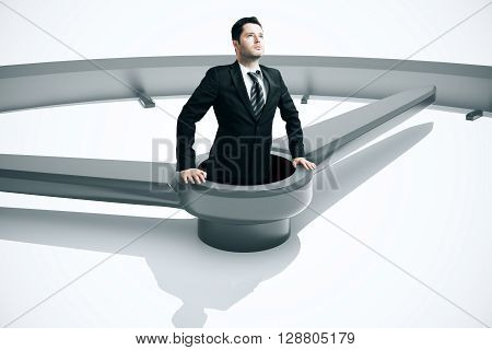 Time management concept with businessman drowing in clock. 3D Rendering