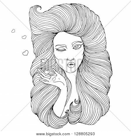 Vector hand drawn portrait of the young winking girl with lush hair wavy hair. Girl  flirting winks, pulling her lips to kiss the hand gesture sends air flying kiss with hearts. On a white background