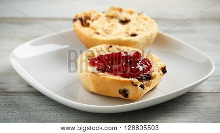 2 pieces of chocolate brioche with jam