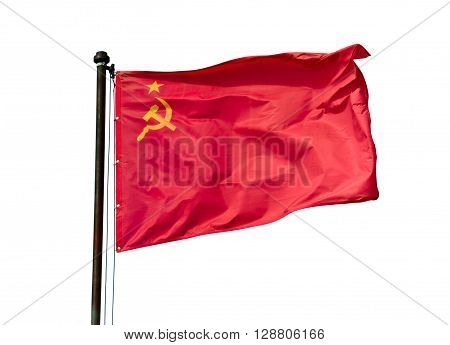 The flag of the USSR developing in the wind on a flagpole on white background