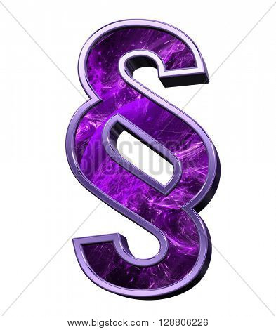 Paragraph sign from purple fractal alphabet set isolated over white. 3D illustration.