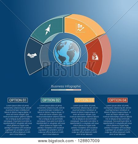 Template infographics business concept coloured parts semicircle and globe numbered for four positions options parts or processes. 3D vector illustration.