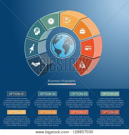 Template infographics business concept coloured parts semicircle and globe numbered for eight positions options parts or processes. 3D vector illustration.