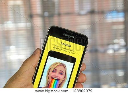 MONTREAL CANADA - MARCH 20 2016 - Snapchat lenses on android cell smartphone. Snapchat is a mobile messaging application used to share photos videos text and drawings.