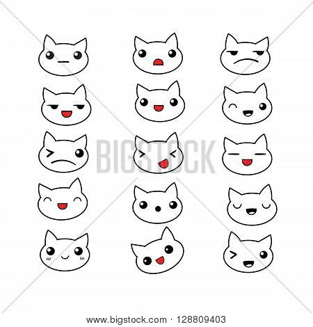 Set of 15 different doodle emotions cat. Emotions for design. Anime. Icons cat emotion. Anger and joy. Surprised and Happy. Laughter and sad.