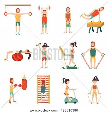 Vector illustration with cartoon characters and gym equipment. Vector indoor activity lifestyle. Cartoon fitness objects. People do exercise. Vector man and woman with cartoon sport equipment
