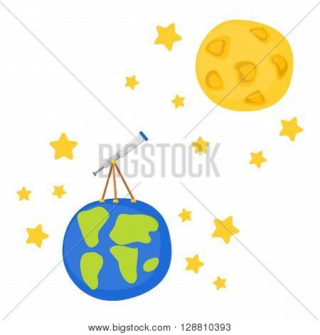 Vector cartoon illustration with telescope on Earth to Moon. Flight to Moon concept. Great for children book/encyclopedia cover illustration. Cartoon telescope. Universe travel adventure