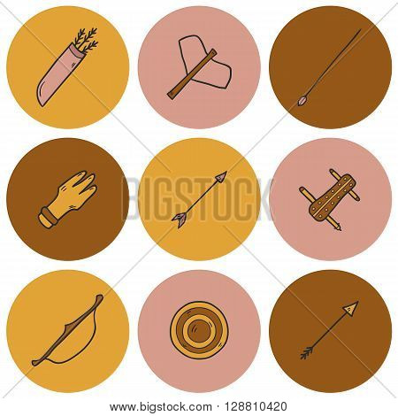 Illustration with cartoon hand drawn archery icons. Sport activity concept. Archery tournament or competition elements. Sport archery club cartoon equipment. Hand drawn toxophily illustration