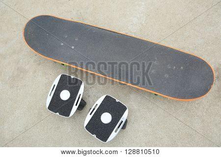 closeup of free line skateboard at skatepark