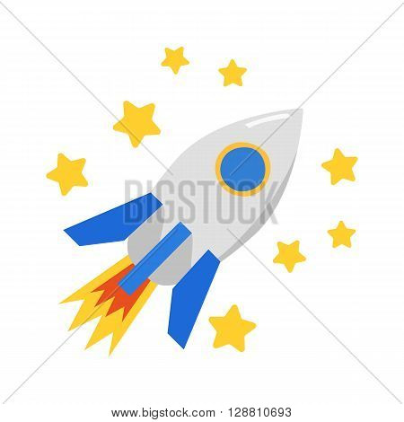 Vector cartoon rocket and stars. Startup or growth concept. Space travel to Mars Moon. Science technology. Be first leadership concept. Business startup growth vector concept. Cartoon rocket logo