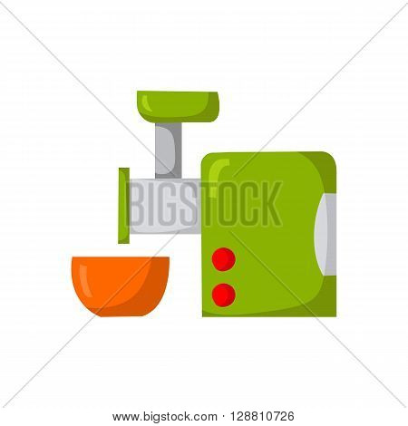 Vector illustration with cartoon kitchen meat grinder and bowl. Cartoon indoor kitchen appliances design. Kitchen equipment for mince meat. Cooking raw meat. Cartoon vector kitchen meat grinder