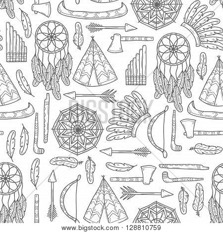 Seamless background with hand drawn objects on native american theme: tomahawk feather canoe bow arrow hat mandala flute pipe dreamcatcher. Native american concept for your design