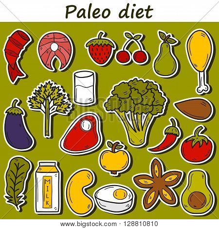 Set of stickers in hand drawn cartoon style on paleo diet theme: meat fish fruits vegetables spices nuts. Healthy food concept for paleo diet design. Cartoon fresh products. Healthy diet concept