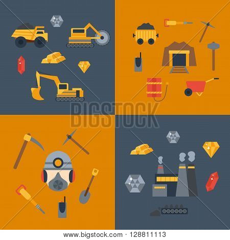 Vector background with mining icons. Cute cartoon objects. Industrial equipment metallurgy factory. Coal mining icons. Mineral diamond gold factory. Industrial tools and machinery