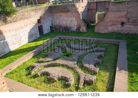 ROME, ITALY - APRIL 8, 2016:  ROME,  Palantine Hill. The ruins of the Domus Augustana on Palatine Hill.
