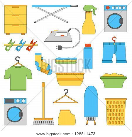 Vector illustration with flat laundry room objects. Washing machine dryer iron clothes hanger ironing board laundry basket. Vector house interior icons. Household flat equipment for laundry