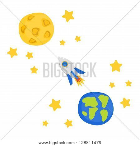 Vector illustration with flight to Moon concept: cartoon rocket stars planet Earth and Moon. Great for children book cartoon cover illustration. Vector concept for space future technology