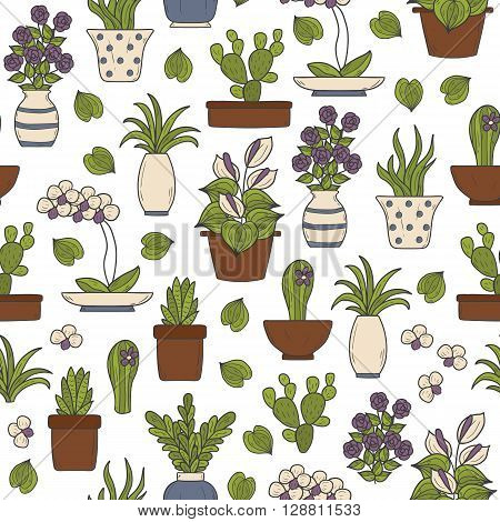 Seamless background on houseplants theme with cartoon hand drawn objects