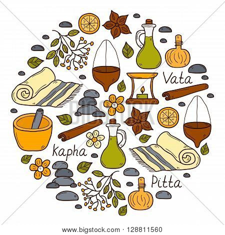 Round ayurveda background in hand drawn style: herbs stones oil spices aromatherapy towel. Auyrveda healthcare and treatment concept for your design. The doshas: Vata Pitta Kapha