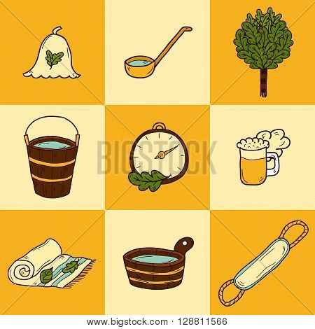 Set of hand drawn sauna icons: broom towel hat wisp beer steam. Relaxation health care or treatment concept for your design
