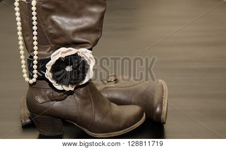 Classy & Fashionable Brown Boot with bracelet and Pearls